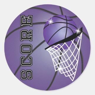 Basketball Score in Purple Round Sticker