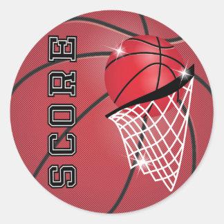 Basketball Score in Red Round Sticker