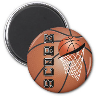 Basketball Score with a Net 6 Cm Round Magnet