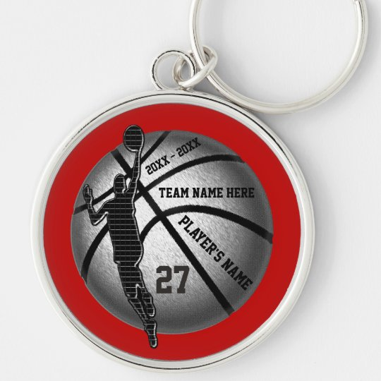 Basketball Senior Gifts Personalised, Team Colours Key Ring