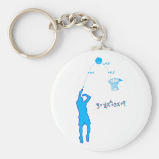 Basketball Shot and Quadratic equation Basic Round Button Key Ring