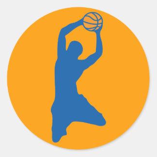 basketball silhouette round sticker