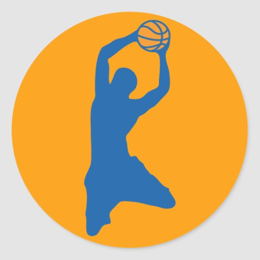 basketball silhouette round stickers
