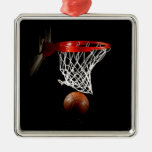 Basketball Silver-Colored Square Decoration