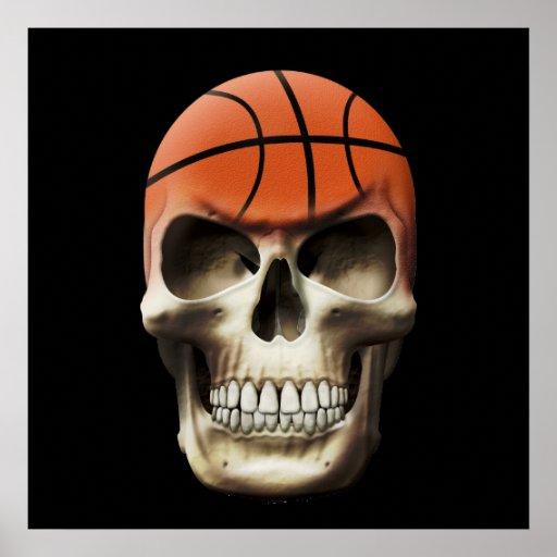 Basketball Skull Poster