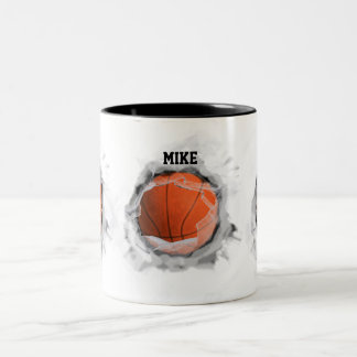 basketball slamdunk Two-Tone coffee mug