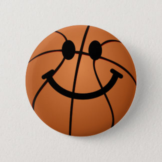 Basketball smiley face 6 cm round badge