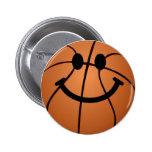 Basketball smiley face 6 cm round badge