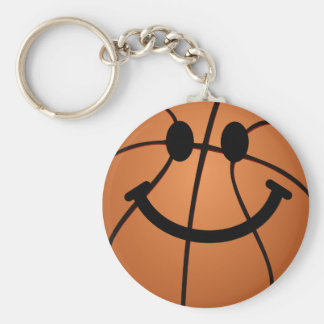 Basketball smiley face basic round button key ring
