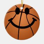 Basketball smiley face christmas ornament