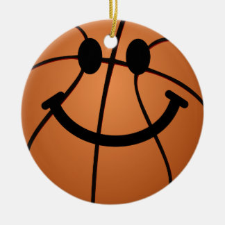 Basketball smiley face christmas ornament