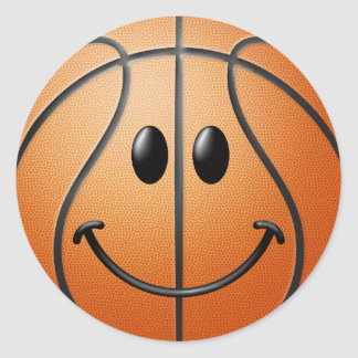 Basketball Smiley Face Round Sticker