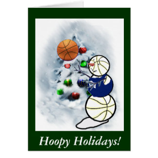 Basketball Snowman Christmas Card