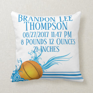 Basketball Sport Ball Game Personalized Birth Stat Cushion