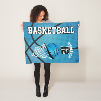 Basketball Sport Design in Baby Blue Fleece Blanket
