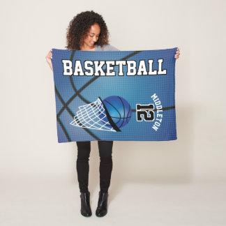 Basketball Sport Design in Blue Fleece Blanket