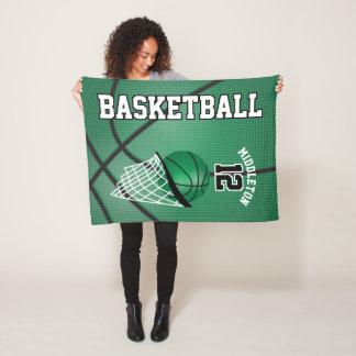 Basketball Sport Design in Green Fleece Blanket