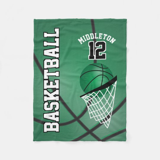 Basketball Sport Design in Green Fleece Blanket