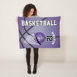 Basketball Sport Design in Purple Fleece Blanket