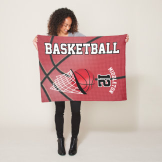 Basketball Sport Design in Red Fleece Blanket