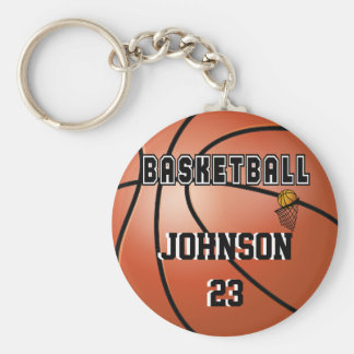 Basketball Sport | DIY Name & Number Basic Round Button Key Ring