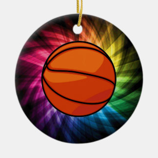 Basketball; Sport; rainbow Christmas Ornament