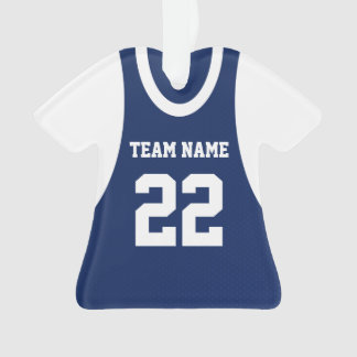 Basketball Sports Jersey Blue with Photo Ornament