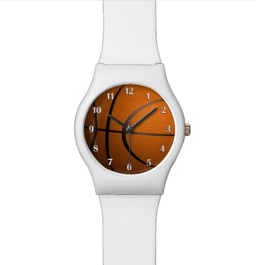 Basketball Sports Wrist Watch with White Numbers