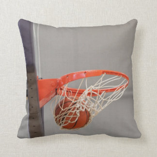 Basketball Swishing in the Net Throw Pillow