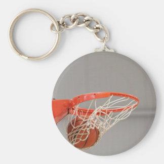 Basketball Swishing Through The Net Basic Round Button Key Ring