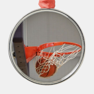 Basketball Swishing Through The Net Silver-Colored Round Decoration