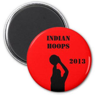 Basketball team 6 cm round magnet