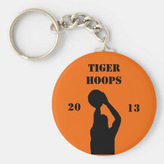 Basketball team basic round button key ring