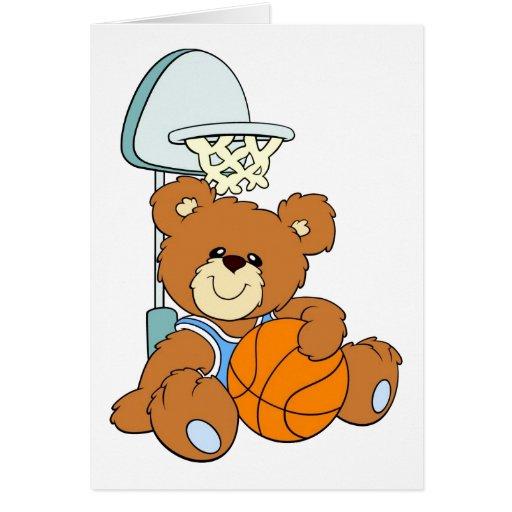 Basketball Teddy Bear Card