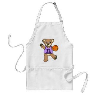 Basketball Teddy Bear Girl - Purple Aprons