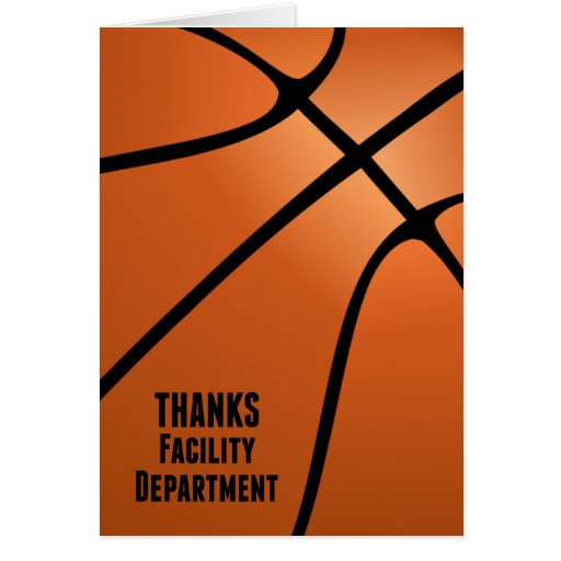 Basketball Thanks Facility Department Card
