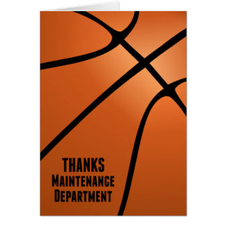 Basketball Thanks Maintenance Department Stationery Note Card