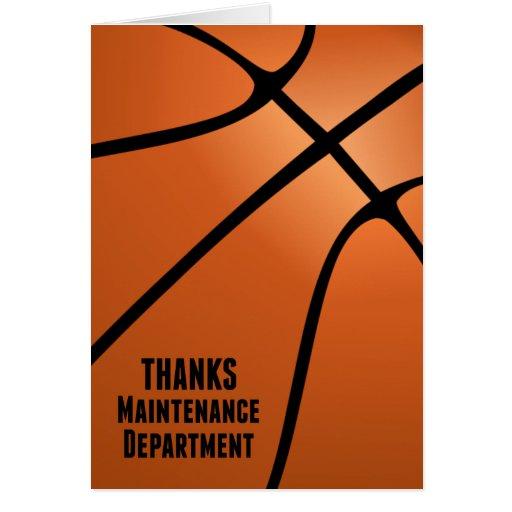 Basketball Thanks Maintenance Department Greeting Card