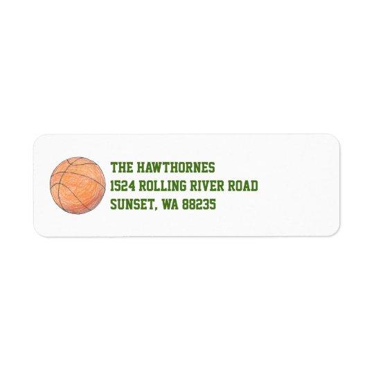 Basketball themed return address label