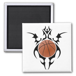 basketball. tribal. square magnet