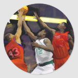 Basketball Two Against One Round Sticker