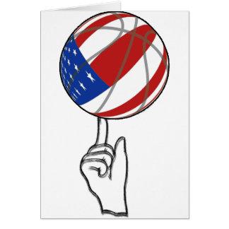 BASKETBALL USA FLAG PATRIOTIC GREETING CARD