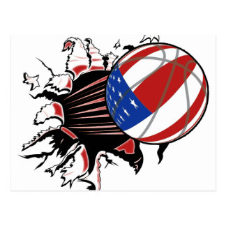 BASKETBALL USA FLAG PATRIOTIC POST CARDS