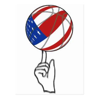 BASKETBALL USA FLAG PATRIOTIC POSTCARD