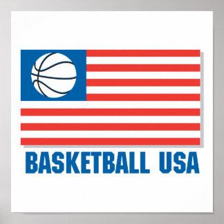 basketball usa flag poster