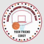 Basketball Valentines Classroom Personalised Name Round Sticker