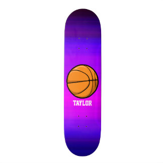 Basketball; Vibrant Violet Blue and Magenta 19.7 Cm Skateboard Deck