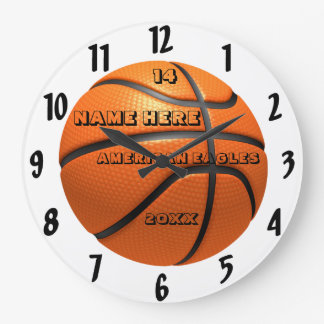 Basketball white and black clock with Player Name