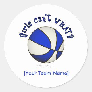Basketball - White/Blue Round Sticker