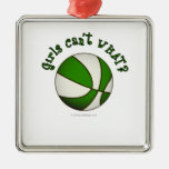Basketball - White/Green Ornaments